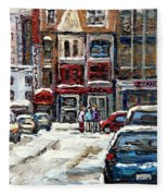 For Sale Original Paintings Montreal Petits Formats A Vendre Downtown Montreal Rue Stanley Cspandau  Fleece Blanket