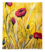 For The Love Of Poppies Fleece Blanket