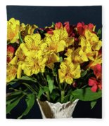 Foral Bouquet Of Red And Yellow Astomelia Fleece Blanket