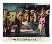 Forbidden Planet In Cinemascope Retro Classic Movie Poster Indoors Fleece Blanket