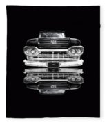 Ford F100 Truck Reflection On Black Fleece Blanket