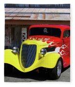 Ford Flaming Hot Rod Fleece Blanket