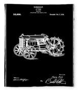 Ford Tractor Patent 1919 Black Fleece Blanket