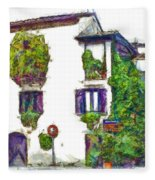 Foreshortening Of House Covered With Climbing Plants Fleece Blanket