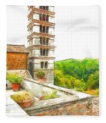 Foreshortening With Bell Tower And Wood Fleece Blanket