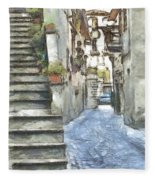 Foreshortening With Stairs Fleece Blanket