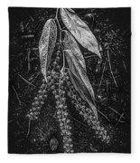Forest Botanicals In Black And White Fleece Blanket