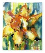 Forest Daffodil In Rain Fleece Blanket