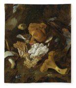 Forest Floor Still Lifes With Mushrooms Butterflies And A Snake Fleece Blanket