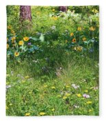 Forest Flowers Landscape Fleece Blanket