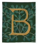Forest Leaves Letter B Fleece Blanket