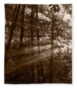 Forest Mist B And W Fleece Blanket