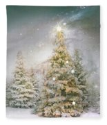 Forest Of Trees In Wintergreens Fleece Blanket