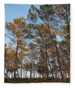 Forest Pine Trees At Sunset Fleece Blanket
