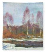 Forest River In Winter Fleece Blanket