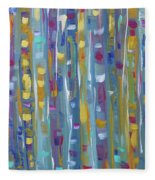 Forest Through The Trees, Abstract Art Fleece Blanket