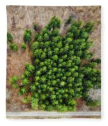 Forest With Green Trees From Above Fleece Blanket