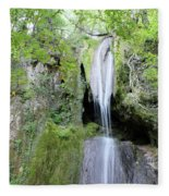 Forest With Waterfall Fleece Blanket