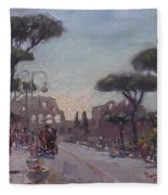 Fori Romani - Street To Colosseo Fleece Blanket