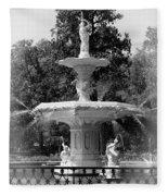 Forsyth Park Fountain Black And White With Vignette Fleece Blanket