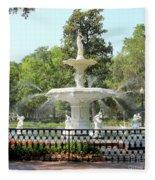 Forsyth Park Fountain Square Fleece Blanket