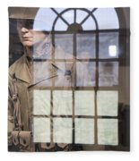 Fort Macon Through Glass Fleece Blanket