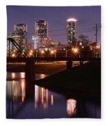 Fort Worth Panorama Fleece Blanket