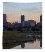 Fort Worth Skyline At Sunset Fleece Blanket