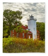Forty Mile Point Lighthouse Lake Huron Lower Peninsilat Mi  Fleece Blanket