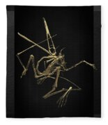 Fossil Record - Gold Pterodactyl Fossil On Black Canvas #1 Fleece Blanket