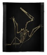 Fossil Record - Gold Pterodactyl Fossil On Black Canvas #4 Fleece Blanket