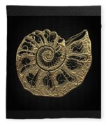 Fossil Record - Golden Ammonite Fossil On Square Black Canvas #4 Fleece Blanket