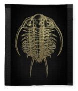 Fossil Record - Golden Trilobite On Black No.2 Fleece Blanket