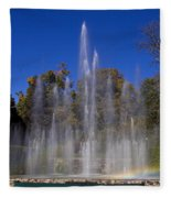 Fountain And Rainbow Fleece Blanket