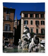 Fountain Depicting Neptune The Piazza Navona The Spire Of The Church Of Santa Maria Della Pace Rome Fleece Blanket
