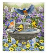 Fountain Festivities - Birds And Birdbath Painting Fleece Blanket
