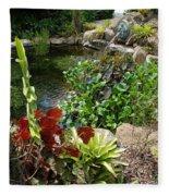 Fountain Flowers Fleece Blanket