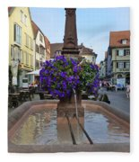 Fountain In Wertheim, Germany Fleece Blanket