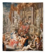 Fountain Scene In Front Of A Palace Fleece Blanket