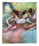 Four Ballerinas On The Stage Fleece Blanket by Edgar Degas