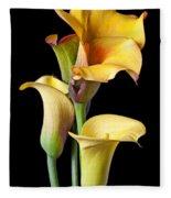 Four Calla Lilies Fleece Blanket