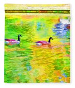 Four Canadian Geese In The Water 1 Fleece Blanket