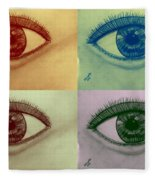 Four Eyes In Pop Art Fleece Blanket