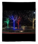 Four Lighted Trees Fleece Blanket