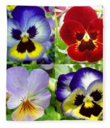 Four Pansies Fleece Blanket