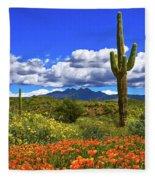 Four Peaks And Poppies, Springtime, Arizona Fleece Blanket