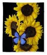Four Sunflowers And Blue Butterfly Fleece Blanket