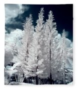 Four Tropical Pines Infrared Fleece Blanket