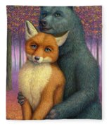 Fox And Bear Couple Fleece Blanket