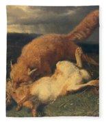 Fox And Hare Fleece Blanket